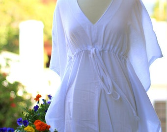 Mini Caftan Dress - Beach Cover Up Kaftan in White Cotton Gauze - 20 Colors