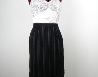 Pinstripe Pencil Skirt, Pinstripe Skirt, Pencil Skirt, Wiggle Skirt, Black Skirt