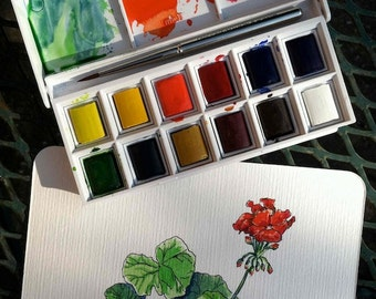 SPECIAL handmade red geranium art, Texas painting, watercolor and ink, collectible artist