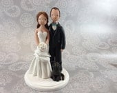 Bride & Groom with a Cat Personalized Wedding Cake Topper