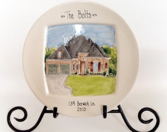 Custom house portrait plate- personalized, housewarming, hostess gift, 8 inch ceramic keepsake by Cathie Carlson