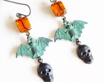 Black Skull Earrings Bat Earrings Black Brass Earrings Gothic Skull Jewelry Verdigris Earrings Noir Macabre Jewelry Goth