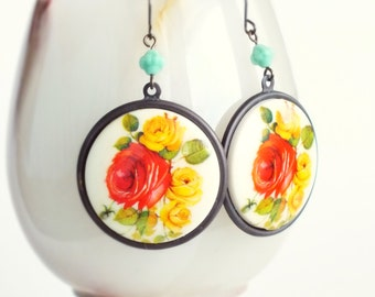 Large Rose Cameo Earrings Vintage Red Yellow Cabbage Rose Earrings Victorian Floral Jewelry Chunky Statement Flower Dangles
