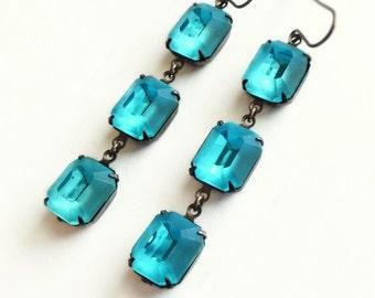 Aqua Rhinestone Dangle Earrings Vintage Matte Glass Window Frosted Aqua Drops Turquoise Aquamarine Jewelry
