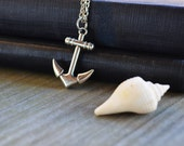Anchor Necklace - Nautical - Antique Silver Chain - Gifts Under 25 - Summer - Beach - Ocean