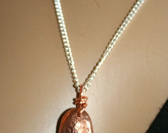 Copper Nugget- necklace organic pendant on a silver chain-Handmade-recycled copper