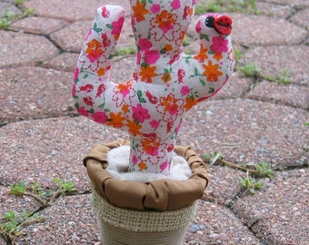 Saguaro Cactus plush with ladybug stuffed floral fabric potted plant
