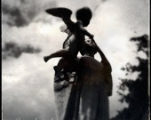 Black and White Cemetery Photography Print, Gothic Mother and Child Statue, Brooklyn NY