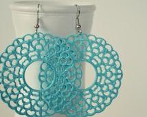 Aqua Blue Boho Earrings, Filigree Hoop Earrings, Bohemian Lacy Circle Earrings, Pastel Victorian Earrings, Hand painted Earrings