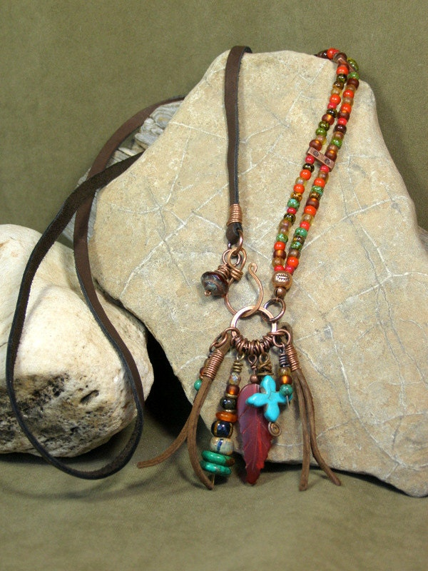 Tribal Necklace Leather Necklace Native American Beaded