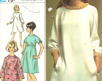 1960s Vintage Sewing Pattern - 1960s Tent Dress - Simplicity 7309 - 1960s Designer Fashion Pattern - Retro Sewing Patterns - Tenderlane