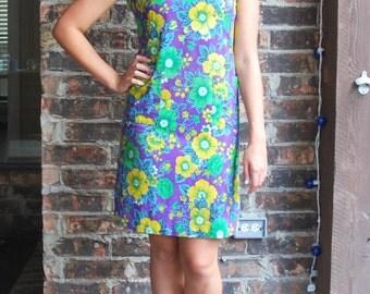 1960's Floral Festival Day Dress, Knee Length, Short Dress, Sleeveless Cotton Summer Dress, Bright Flowers Purple Yellow Green Medium