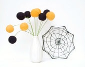 Halloween Felt Flowers, Craspedia Billy Button Balls, Wool Autumn Fall Home Decor decorating Orange and Black Spiderweb