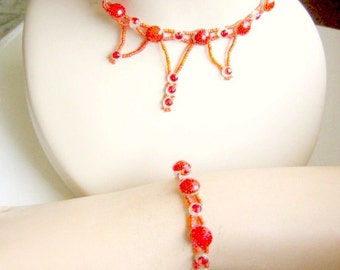 Vintage Beaded Choker Necklace and Bracelet with Reflector Beads