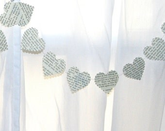 Vintage Paper Heart Garland - Scallop Edge Heart - Pride and Prejudice - Home Decor Party Decorations Wedding Banner Ivory Photo Prop