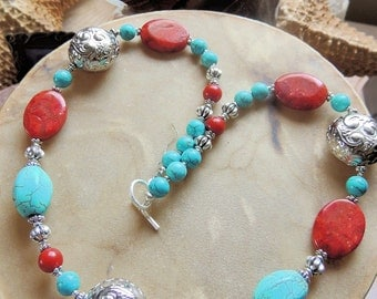 Turquoise Necklace, Turquoise and Red, Southwest Style, Turquoise and Silver, Handcrafted Jewelry, Gemstone Jewelry, Cowgirl Jewelry