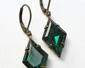 Art Deco Jewelry - Emerald Green Earrings - Victorian Earrings - Crystal Earrings - May Birthstone Gift - HARLEQUIN Emerald