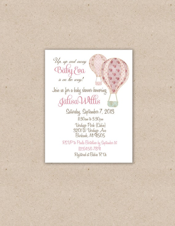 Custom Printable Vintage Chic Hot Air Balloon Baby Shower or Birthday Invitation, It's a Girl