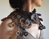 Wearable Fiber Art  Fiber Art Jewelry Crochet Collar Neckwear Neckpiece Necklace in stormy sky and earth tones - Aztec inspired - Ichtaca