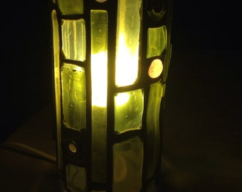 Recycled Glass Lamp - gold greens