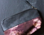 Handmade and Dyed 10inch Tie-Dye Pouch with Black Leather and Tie-Dyed Canvas.