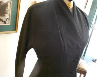 "1950's, 36"" bust, black rayon crepe jacket."