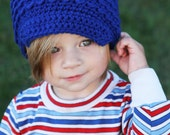 Child Newsboy Hat, Blue Crochet Hat, Royal Blue Beanie, Soft-Brimmed Visor, MADE TO ORDER, Children Clothing