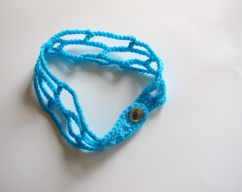 Turquoise Bohemian Headband, Teal Trellis Hair Band Adjustable, Crochet Hair Band, MADE TO ODER