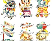 Vintage Digital Download Happy Birthday Animals Kawaii Vintage Image Collage Large PNG