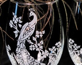 2 Peacock Wedding Stemless Wine Glasses, Etched Glass Peacock Wedding Decor