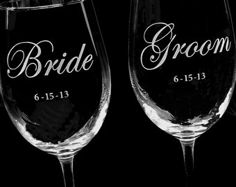 Pair of Bride and Groom Wine Glasses, Wedding Glasses, Engagement Party Gift