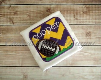 Football Patch Personalized Appliqued T-shirt for Boys, LSU theme