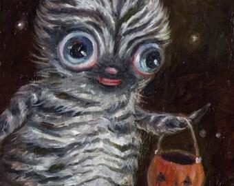 Cute Monster Art, Zebra Stripes, Cute Halloween Art, Lowbrow Art Print, Pop Surrealism, EVK