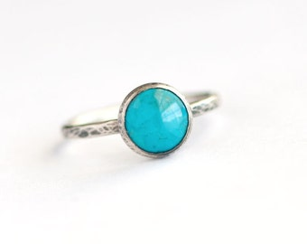 Plumeria - Natural Turquoise and Sterling Silver Ring Hammered Oxidized Size 5 5.25