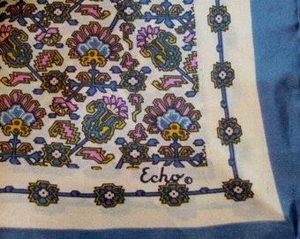 Slate Blue and Pink Square Scarf with Floral Pattern by Echo