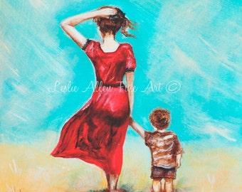 "Mother Son Child ART PRINT GICLEE Mother Little Boy Brother Sibling Toddler Beach Mom ""My Little Champ"" Leslie Allen Fine Art"