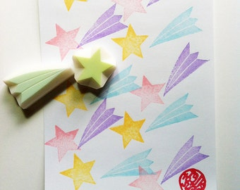 shooting star stamp set, star hand carved rubber stamps, planet stamp, starry sky stamp, holiday crafts, christmas gift wrapping, set of 2