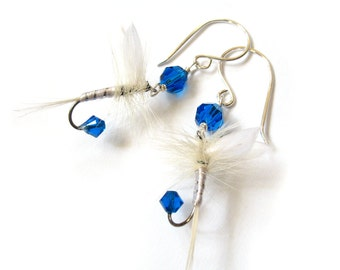 Fishing Fly Lure Earrings - Blue and White Feather Earrings Upcycled - Fun Fly Female Fisherman Angler Fish Feather Crystal Sterling Silver