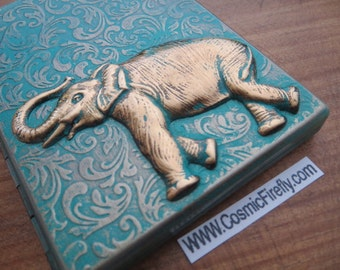 Elephant Cigarette Case Gothic Victorian Steampunk Antiqued Brass Green Verdigris Finish Metal Wallet Card Holder Trunk Up For Good Luck