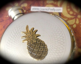 Pineapple Flask Steampunk Flask Round Flask Woman's Flask Men's Flask Victorian Flask