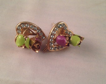 Heart and Rose Vintage Earrings with Rhinestones, Beautiful Retro Costume Jewelry, Purple and Green Rosebuds with Gold Metal Hearts on Sale