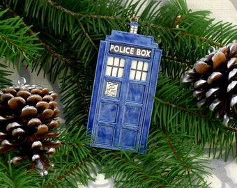 Tardis Tree Ornament: 3-D Blue Police Box Hanging Keepsake