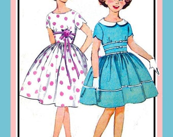 Vintage 1960s-GIRLS PARTY DRESS-Sewing Pattern -Three Styles- Built Up Midriff- Tulip Sleeves-Rick Rack-Bows-Full Twirl Skirt -Size 10 -Rare