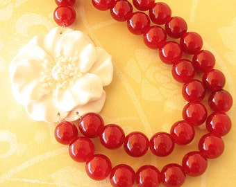 Beaded Necklace Flower Necklace Statement Necklace Christmas Gift Maroon Jewelry Red Necklace White Jewelry