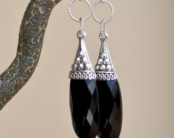 Black Onyx Teardrops Earrings. Black Onyx ART DECO Gemstone Earrings. LARGE Onyx  Sterling Silver Earrings. Fine Luxury Jewelry.