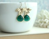 Emerald Green Gold Orchid, Glass Framed Jewel French Drop Earrings. Bridesmaid Gift. Modern Everyday Jewlery. Green Wedding Idea. Sis