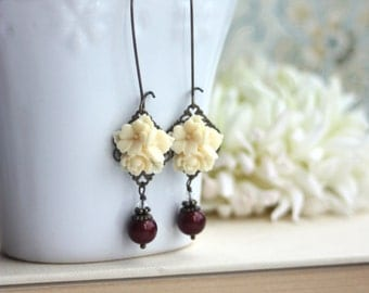 Cream Flower Bouquet, Dark Red Wine Brown Bead Antiqued Brass Dangle Earrings.Fall. Autumn. Gifts for Her