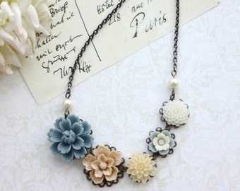 Dusty Blue, Latte Brown, Ivory, White, Antiqued Brass Flower Bib Necklace. Bridesmaid Gift, Blue Rustic Barn Wedding. Sister, BFF Friend Mom