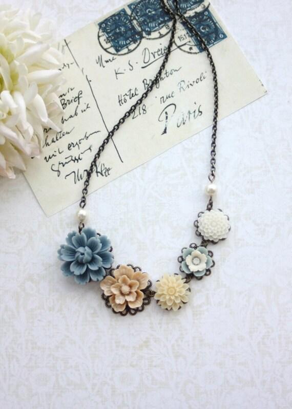 Dusty Blue, Latte Brown, Ivory, White, Antiqued Brass Flower Bib Necklace. Bridesmaid Gift, Blue Rustic Barn Wedding. Sister, BFF Friend Mom