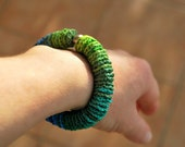 Crochet Bracelet Bangle - Blue Green - Elastic - Fiber - Custom Order - RESERVED FOR LAURA